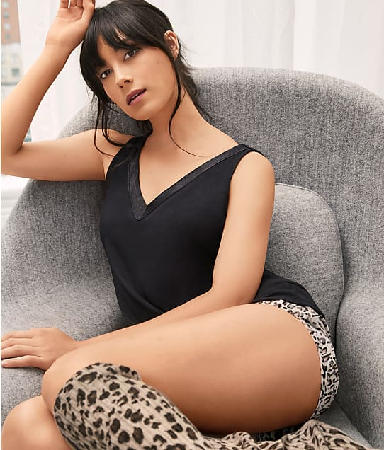 Bare Necessities Rise and Shine Satin and Jersey Tank in Black(Lifestyle) R22B602