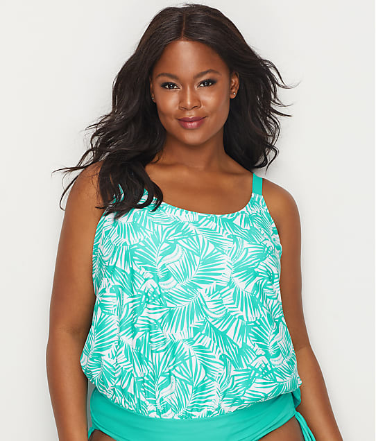 Beach House: Plus Size Cape Palm Blouson Tankini Top