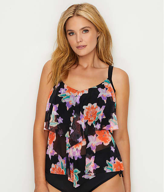 Beach House: Plus Size Bungalow Bay Flower Wire-Free Tankini Top