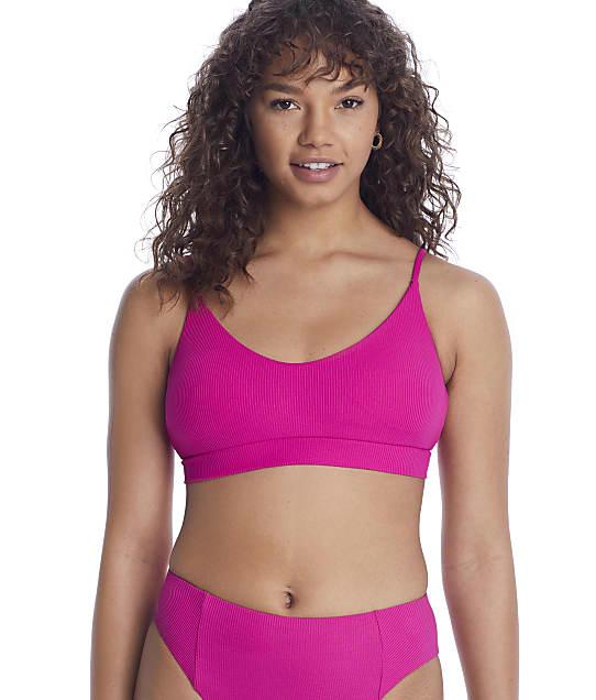 Becca Fine Line Leia Scoop Bikini Top in Raspberry(Front Views) 583617