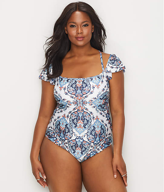 BECCA ETC: Plus Size Naples Off-The-Shoulder Wire-Free One-Piece