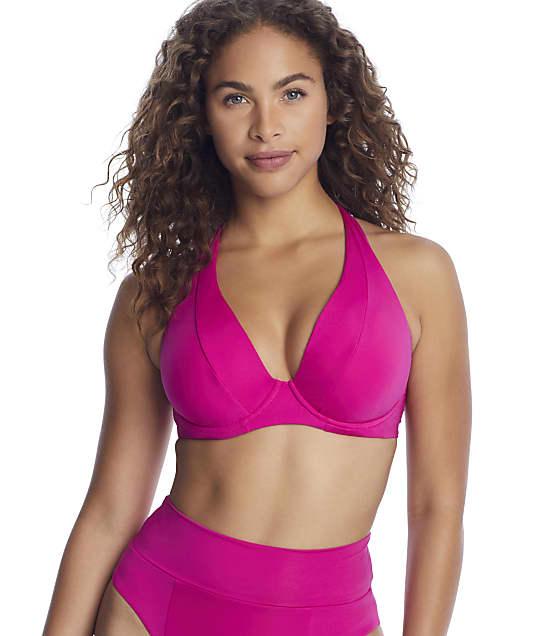 Becca Color Code Underwire Halter Bikini Top D-F Cups in Raspberry(Front Views) 853307