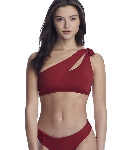 Becca Color Code Sadie Asymmetrical Bikini Top in Adobe(Front Views) 859317