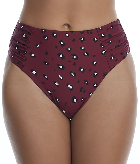 Birdsong Wildside Ruched High-Waist Bikini Bottom in Wildside(Front Views) S20154-WILDS