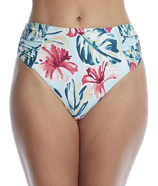 Birdsong Aloha Ruched High-Waist Bikini Bottom in Aloha S20154-ALOHA