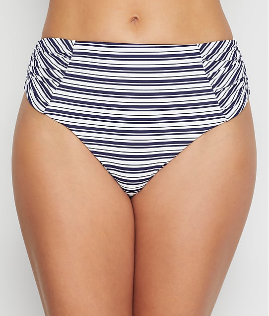 Birdsong: Newport Stripe Ruched High-Waist Bikini Bottom