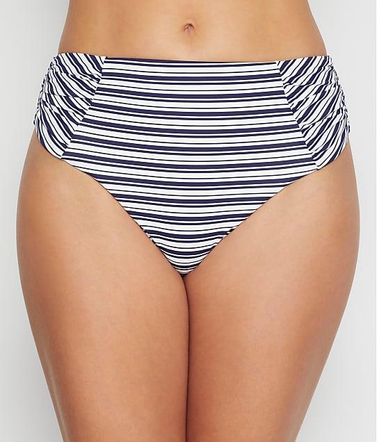 Birdsong Newport Stripe Ruched High-Waist Bikini Bottom in Newport Stripe S20154-NWST