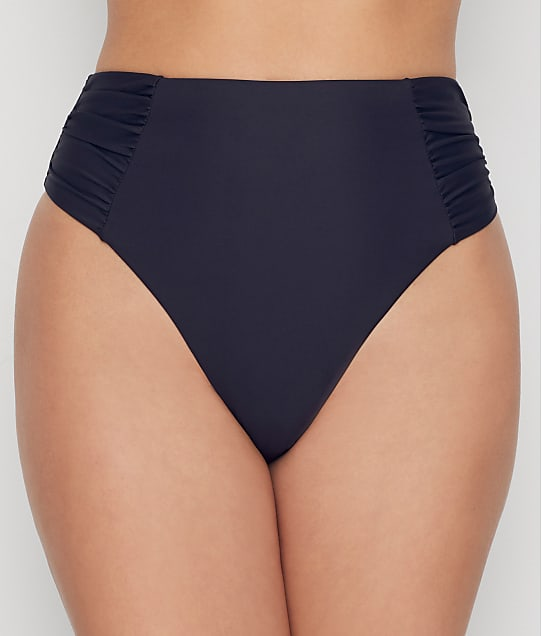 Birdsong Onyx Ruched High-Waist Bikini Bottom in Onyx(Front Views) S20154-ONYX