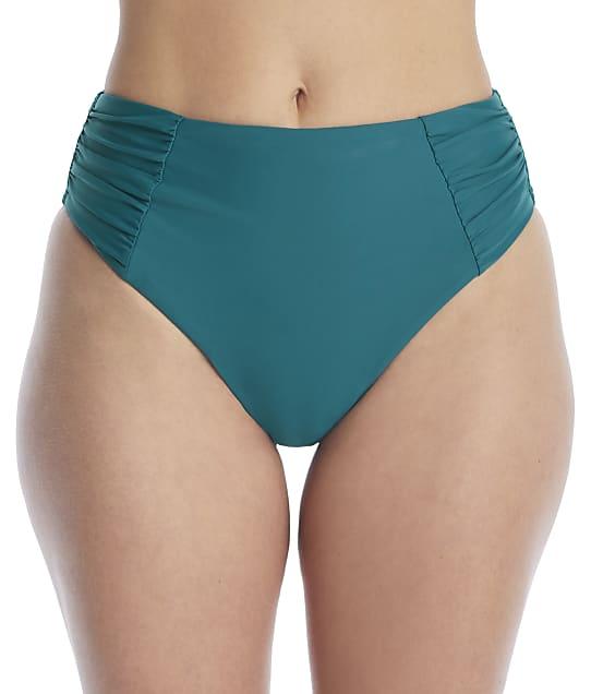 Birdsong Palmetto Ruched High-Waist Bikini Bottom in Palmetto(Front Views) S20154-PALME