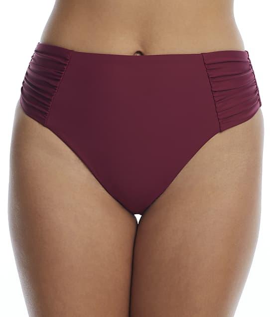 Birdsong Plum Pie Ruched High-Waist Bikini Bottom in Plum Pie(Front Views) S20154-PLMPI