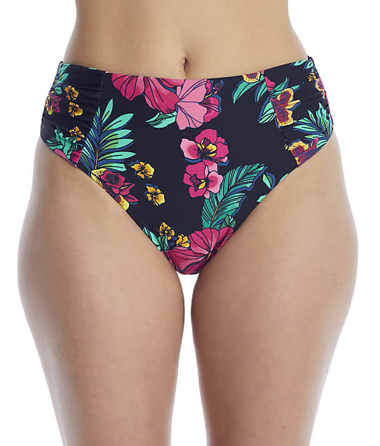 Birdsong Polynesian Floral Ruched High-Waist Bikini Bottom in Polynesian Floral(Front Views) S20154-POFLR
