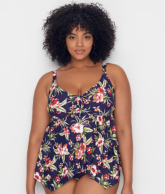 Birdsong: Plus Size Hibiscus Bloom Sharkbite Underwire Tankini Top
