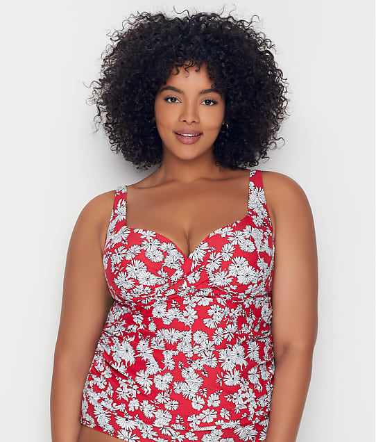 Birdsong: Plus Size Daydreamer Shirred Tankini Top