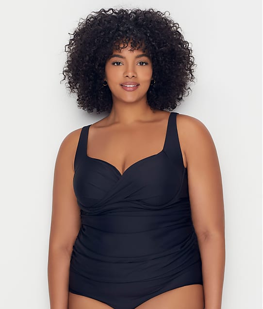 Birdsong: Plus Size Onyx Shirred Tankini Top