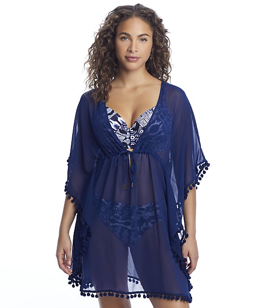 Bleu Rod Beattie Gypsy Caftan Cover-Up in Navy(Front Views) RBGS00801