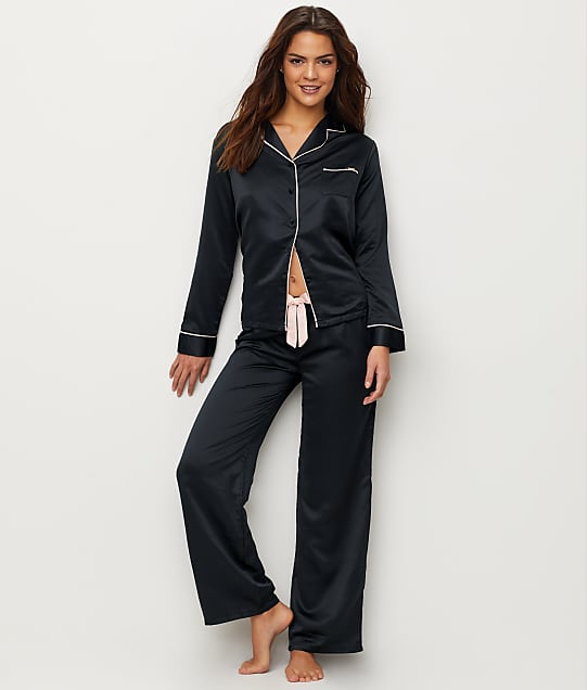 Bluebella Claudia Black Satin Pajama Set in Black / Pale Pink 32719