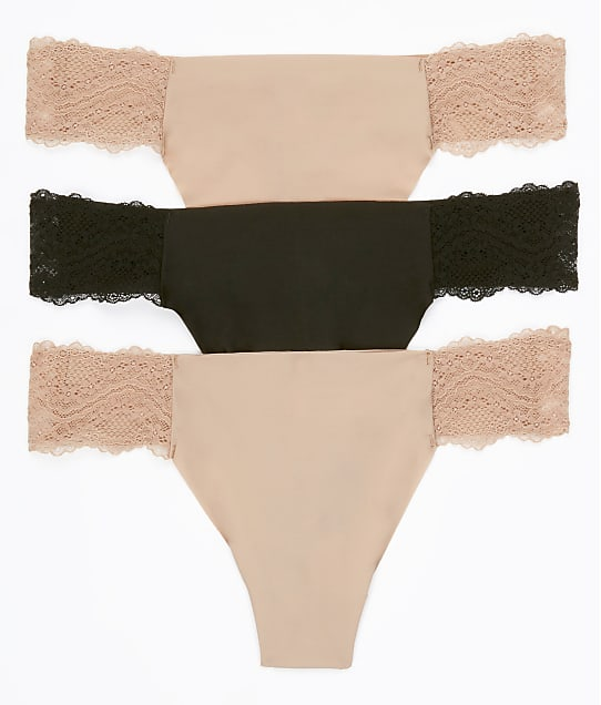 b.tempt'd by Wacoal b.bare Thong 3-Pack in Black / Nude 970367