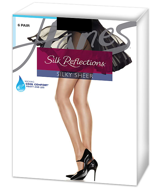 Hanes Silk Reflections Sandalfoot Pantyhose 6-Pack in Barely Black C06715