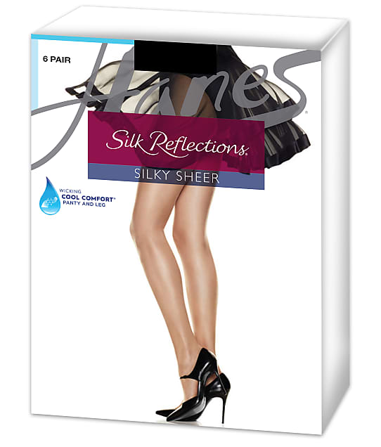 Hanes Silk Reflections  Control Top Pantyhose 6-Pack in Barely Black C06718