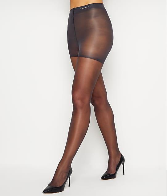 Calvin Klein Hosiery Sheer Essentials Matte Control Top Pantyhose in Almost Black(Front Views) 620F