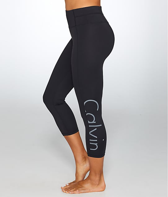 Calvin Klein: Large Logo Cropped Compression Leggings