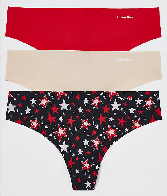 Calvin Klein Invisibles Thong 3-Pack in Tomato/Beech/Stars QD3558