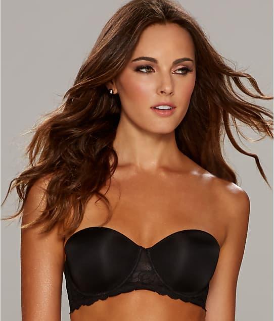 Calvin Klein Seductive Comfort Push Up Strapless Bra in Black(Front Views) QF1437