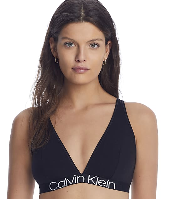 Calvin Klein Reconsidered Comfort Triangle Bralette in Black(Front Views) QF6577