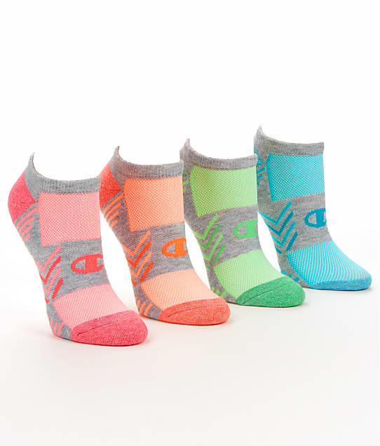 Champion: Trade Up Performance No Show Socks 4-Pack