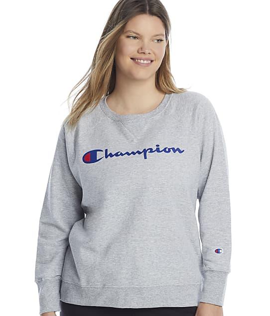 Champion Plus Size Powerblend Graphic Crew Neck Sweatshirt in Oxford Grey(Front Views) GF914Y07466