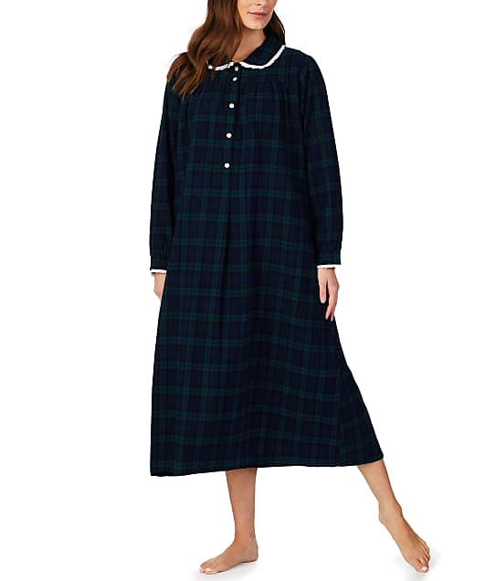 Lanz of Salzburg: Black Watch Plaid Flannel Nightgown