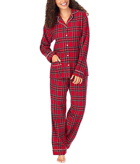Lanz of Salzburg Classic Plaid Flannel Pajama Set in Red Plaid CL5716839-RE