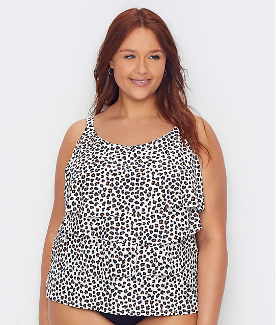 Coco Reef: Plus Size Cheetah Aura Ruffle Underwire Tankini Top