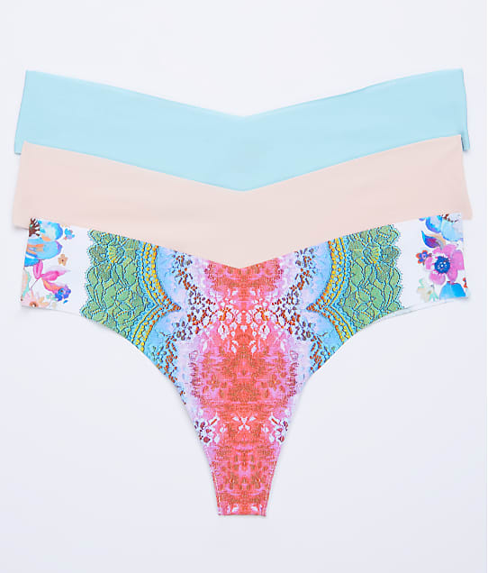 Commando: Low Rise Pink Floral Thong 3-Pack