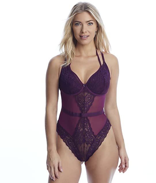 Contradiction Suspense Bodysuit in Mulberry(Front Views) 11810