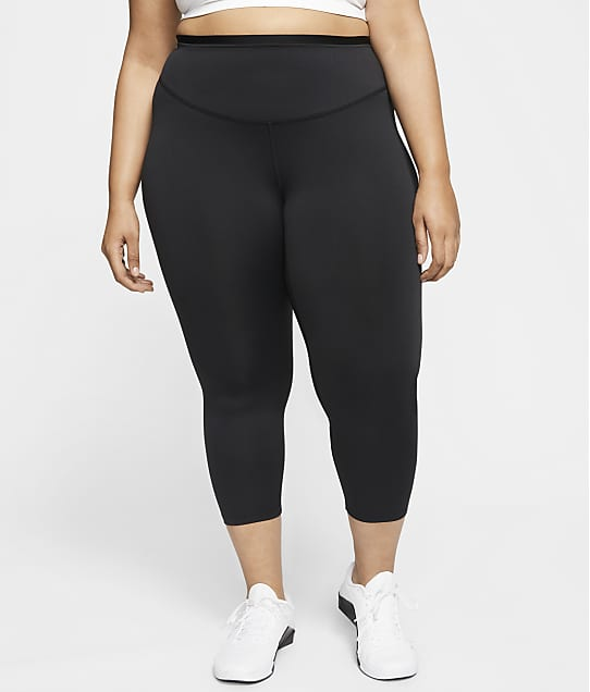 Nike Plus Size One Graphic Cropped Leggings in Black / Smoke Grey(Front Views) CU8549