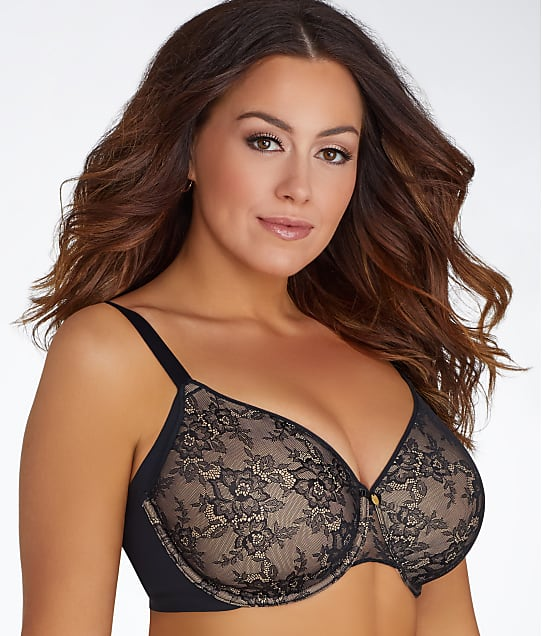 Curvy Couture Flawless Lace Full Coverage Side Smoother Bra in Black 1172