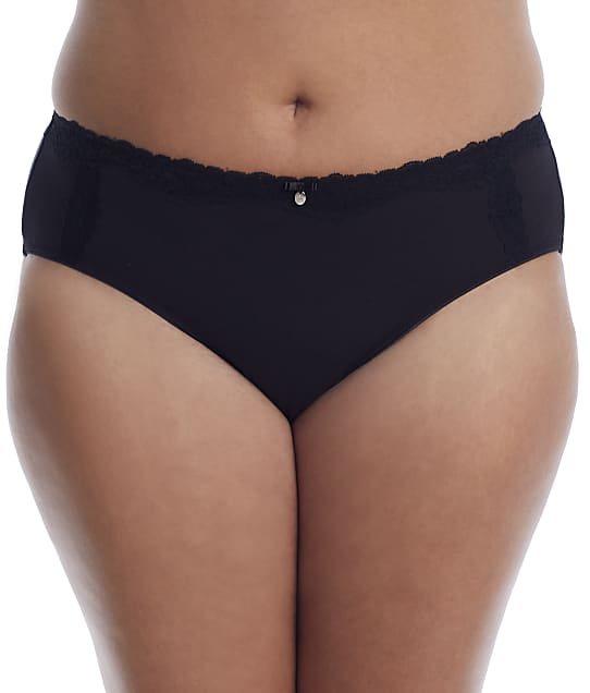 Curvy Couture Cotton Luxe Hipster in Black(Front Views) 1302