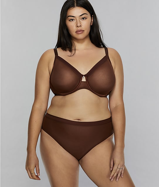 Curvy Couture All You Mesh Bra in Chocolate(Front Views) 1311