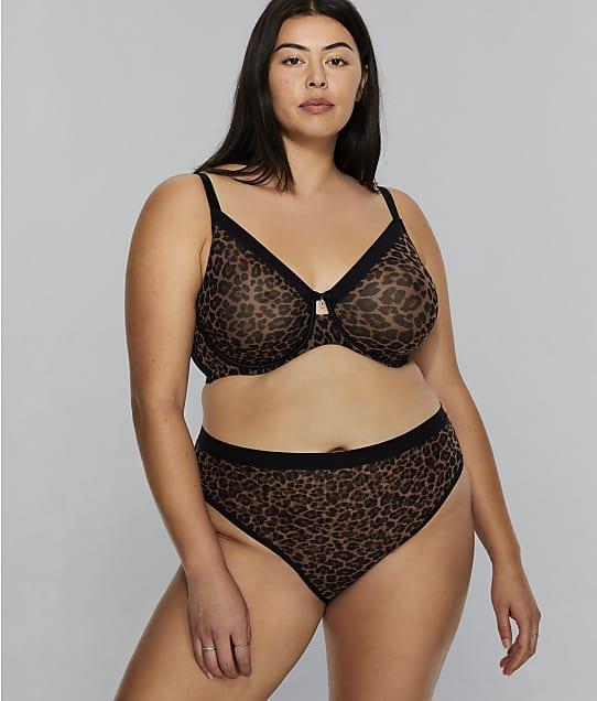 Curvy Couture All You Leopard Mesh Bra in Dark Leopard(Front Views) 1311PRNT