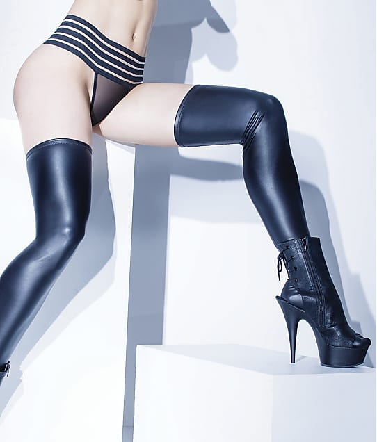 Coquette: Plus Size Wet Look Thigh Highs