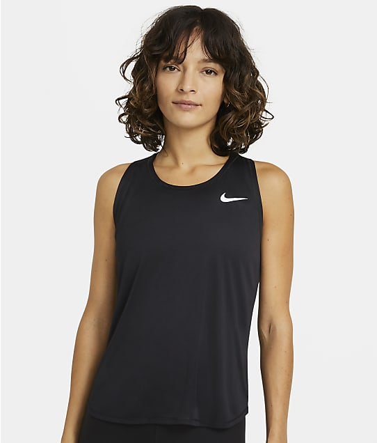 Nike Plus Size Essential Running Tank in Black(Front Views) DH1025