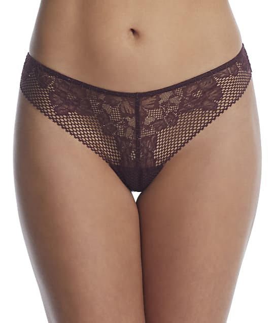 DKNY Soft Tech Lace Thong in Black Plum(Front Views) DK4051