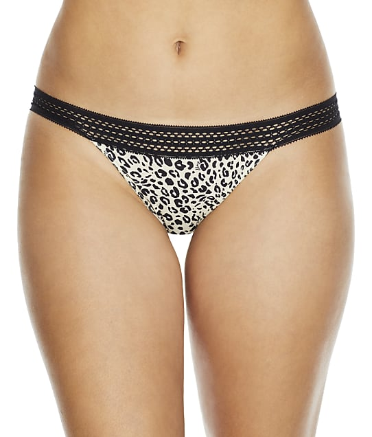 DKNY Classic Cotton Lace Trim Bikini in Black White Animal DK5006
