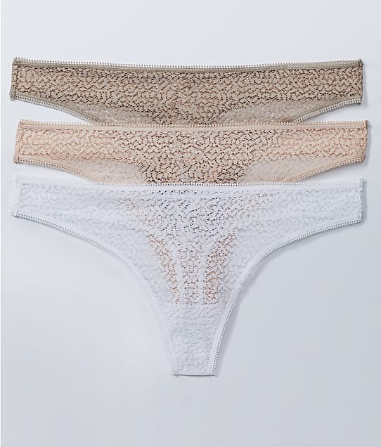 DKNY Modern Lace Thong 3-Pack in Champagne Multi(Front Views) DK5013P3