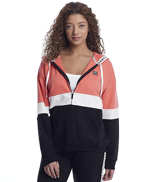 DKNY Sleepwear Calling Knit Lounge Hoodie in Black(Front Views) Y2022472
