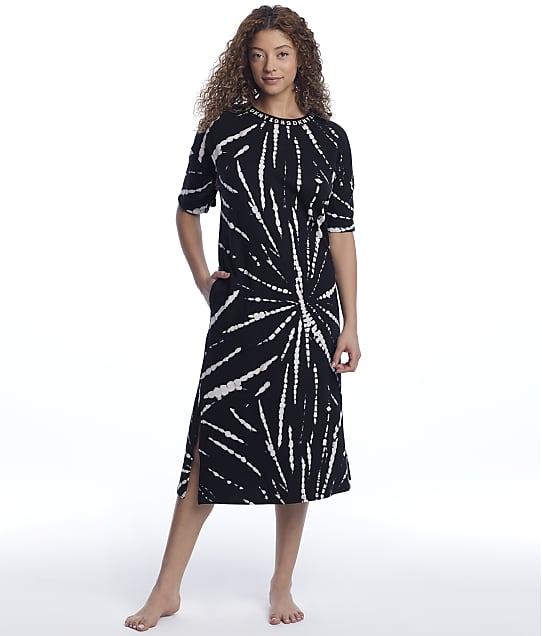 DKNY Sleepwear Calling Knit Lounge Shirt in Black Tie Dye(Front Views) Y2122472