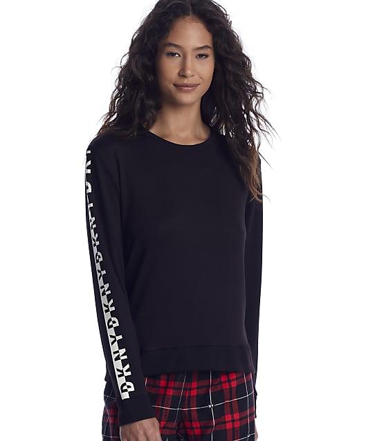 DKNY: Black Knit Lounge Top