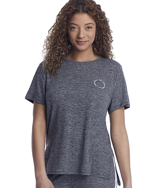 DKNY Sleepwear Technical Jersey Lounge Top in Black Space Dye(Front Views) Y2422471