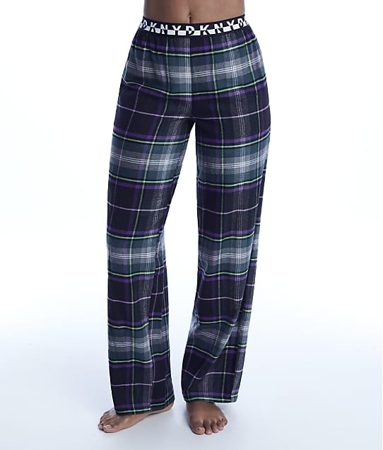DKNY: Black Plaid Knit Pajama Pants